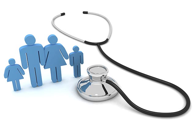 Stethoscope and a digital representation of a family